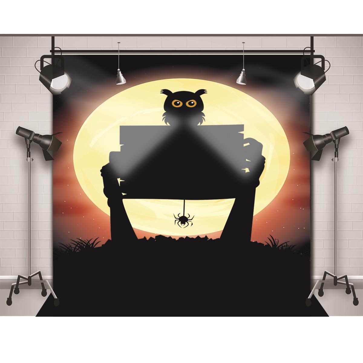 Allenjoy Fotograficzne Tło Pająk Sowa Księżyc Ręcznie Halloween