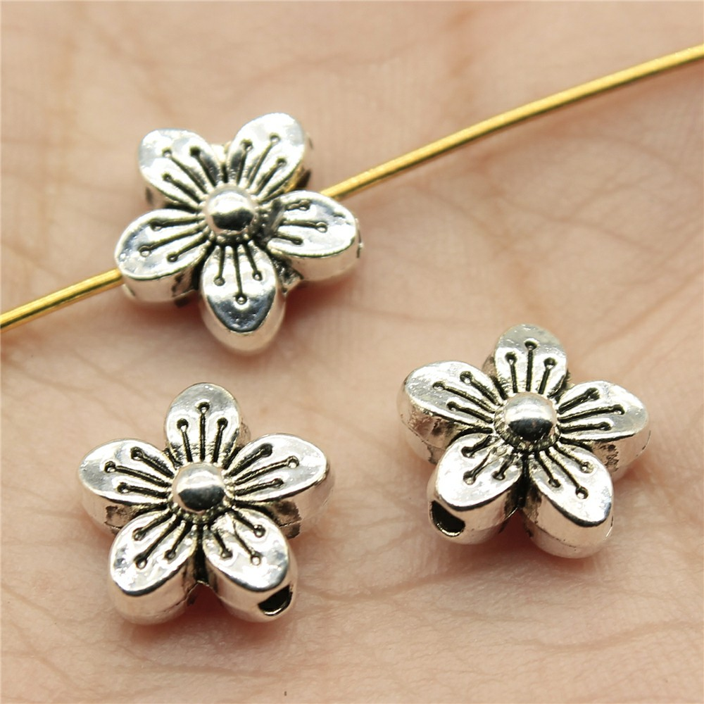 WYSIWYG 12pcs 10*10*5mm Flower Small hole Spacers Beads Pendants Charms Findings Jewellery Making Findings for DIY Craft