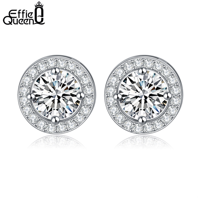 Effie Queen Women Earrings 0.75ct CZ Zircon Crystal Stud with Round Yellow Clear Color Zircon Stud Earrings Jewelry DE104