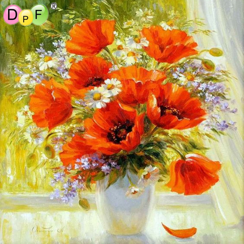Windowsill Poppies 3d Diamond painting cross stitch Floral Rhinestone kits Square full Mosaic Diamond embroidery Home decor