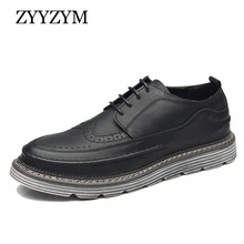 ZYYZYM Men Brogue Casual Shoes Lace-up Style Spring Autumn New Fashion Leather Thick Soled Pantshoes Footwear