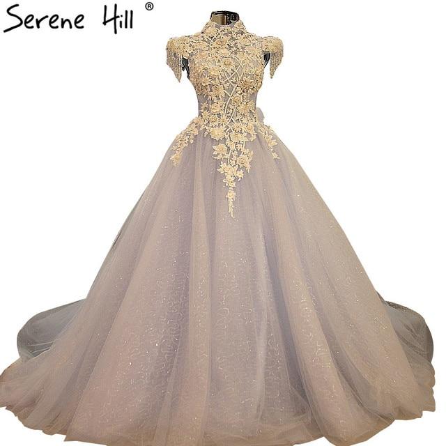 Hot Sale High Collar Tulle Wedding Dress Tiffany Blue Pearls Diamond ...