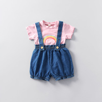2017 New Summer Casual Cotton Jersey Children's Wear Girl Dresses Princess Baby Short Sleeve Shirt Jeans Short Pant Two Suit