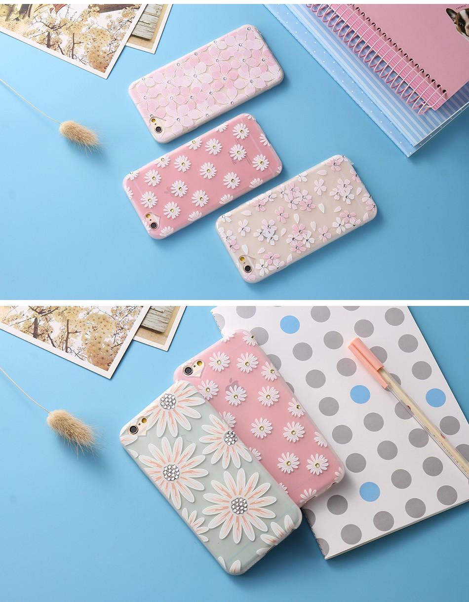 Чехол силиконовый с индивидуальным дизайном «Ромашки» для iPhone