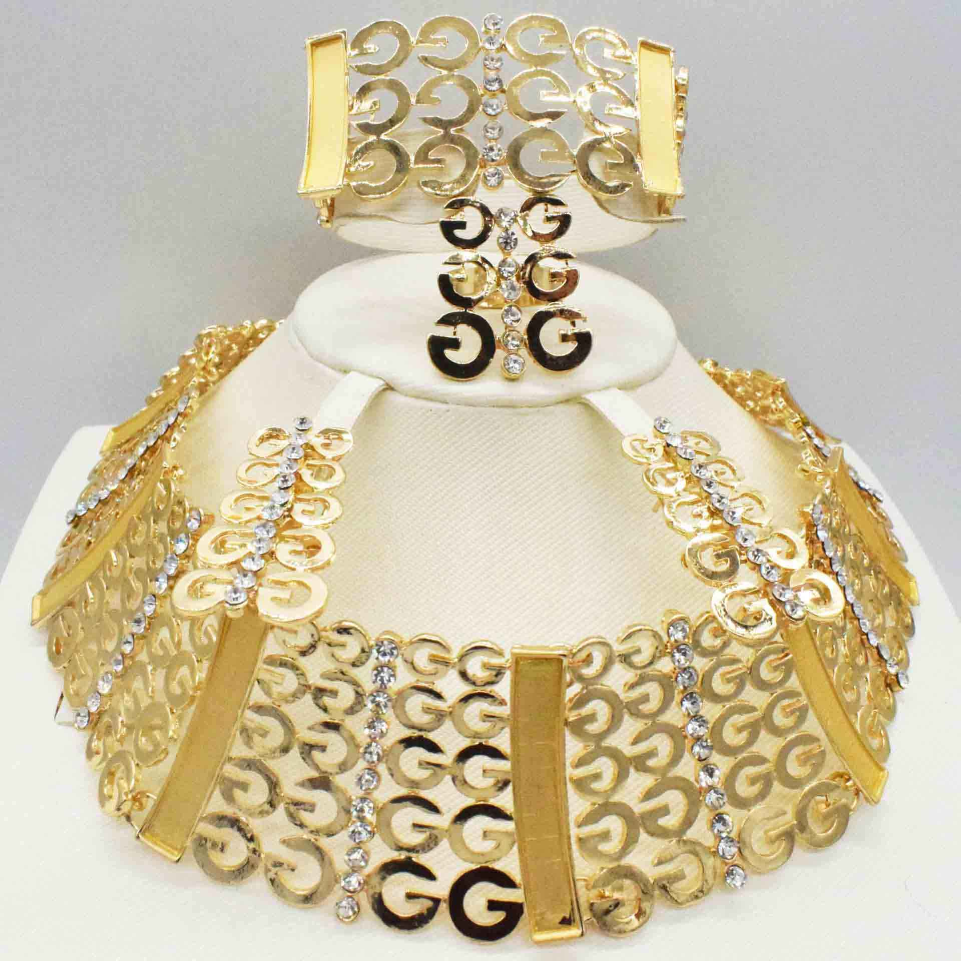 Fashion women Dubai gold-color African bead jewelry sets Bridal wedding Party shiny zircon Necklace Bangle Earring Ring