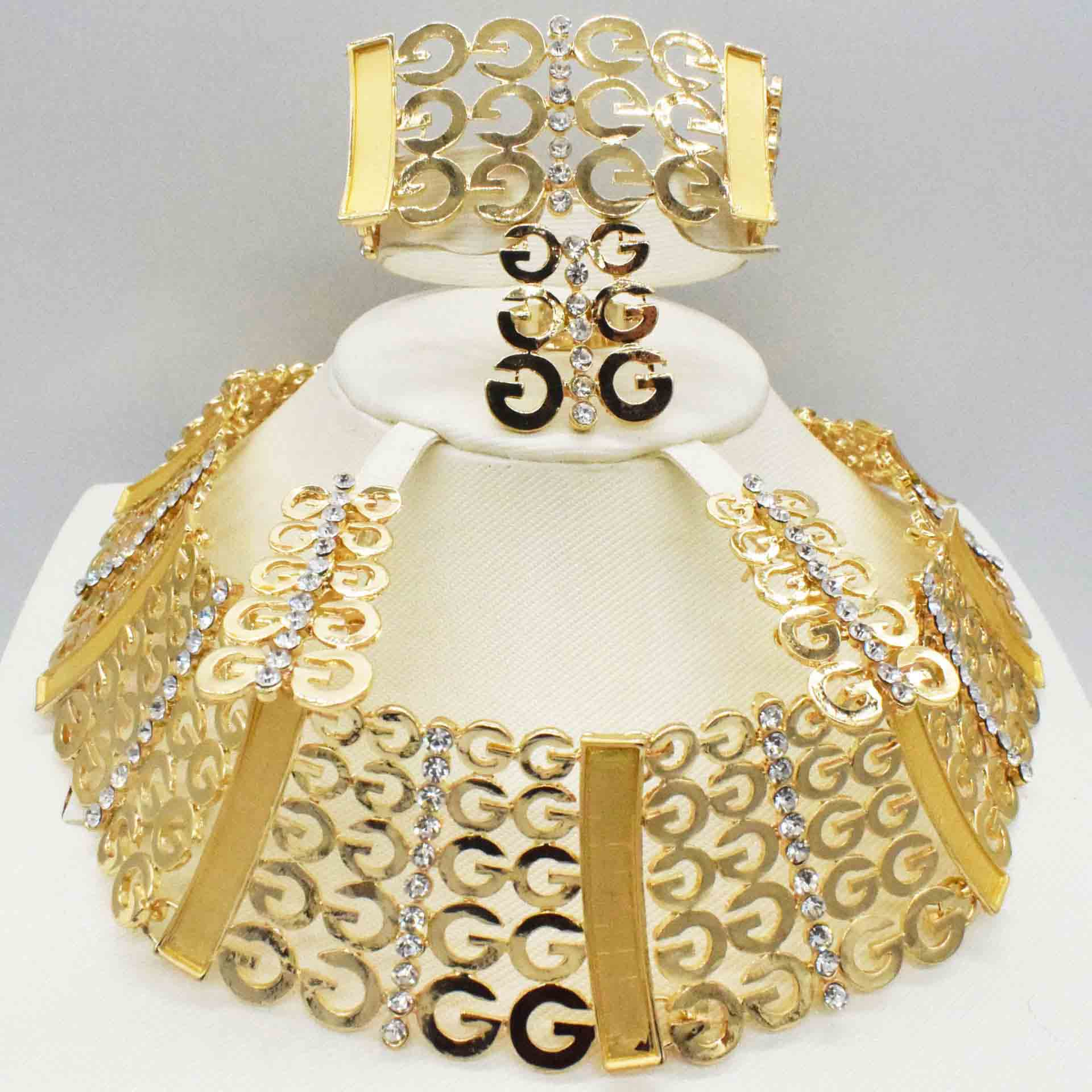 Women Dubai Goldcolor African Bead Jewelry Sets Bridal Wedding Party Shiny Zircon Necklace Bangle Earring Ring