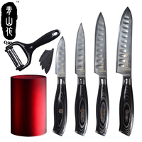 QING 3 4 5 6 Damascus Knife Super Sharp Japanese VG10 Steel Kitchen Knives Peeler Red