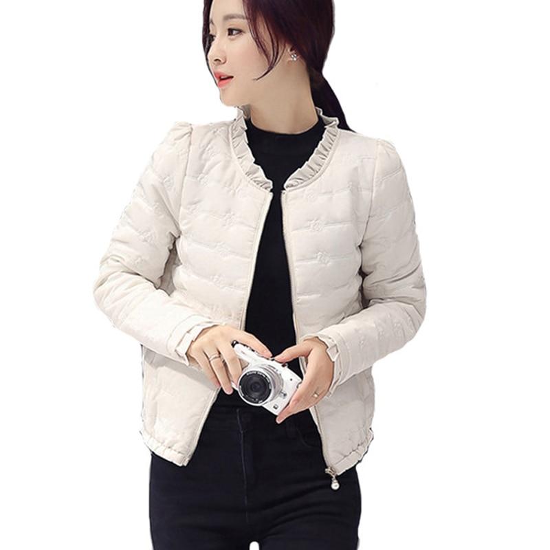 2018 Winter Women   Basic     Jacket   Zipper Female Coat Autumn Spring Ladies Outerwear Short Girls Cotton Padded   Jacket   2LJ0775