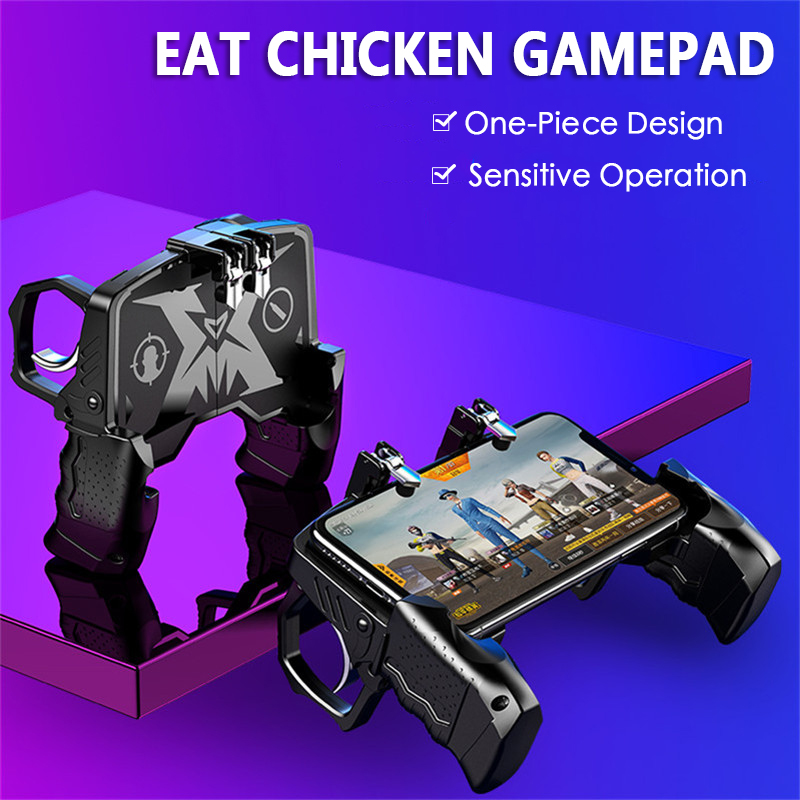 New K21 Metal PUBG Mobiele Gamepad Joystick Auxiliary Game Controller Handle L1 R1 Trigger Game Shooter Button for iOS Android