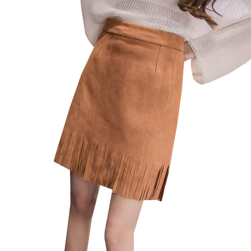 2017 New Spring Summer Women Faux Suede Tassel Skirt Casual High Waist Skirts Plus Size Student Vintage Bodycon Mini Skirt AB205