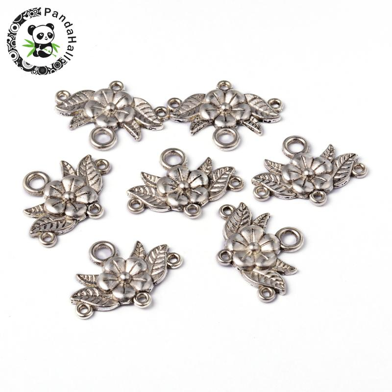 Tibetan Style Chandelier Component Links, Flower, Lead Free and Cadmium Free, Antique Silver Color, 32x23x3mm, Hole: 2mm