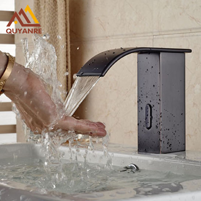 Black Color Hands Free Automatic Sensor Faucet Bathroom Basin Faucet Only Cold Water Tap new deck mounted cold automatic sensor hands faucet chromed free bathroom sink tap cold only sensor faucet chrome for bathroom