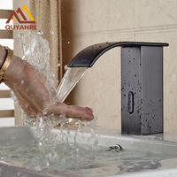 Black Color Hands Free Automatic Sensor Faucet Bathroom Basin Faucet Only Cold Water Tap