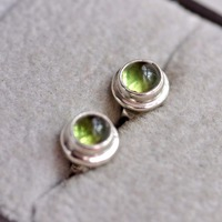New Real 925 Sterling Silver Stud Earrings For Women Girl Original Indian Handmade Natural Round Peridot Earrings Fine Jewelry