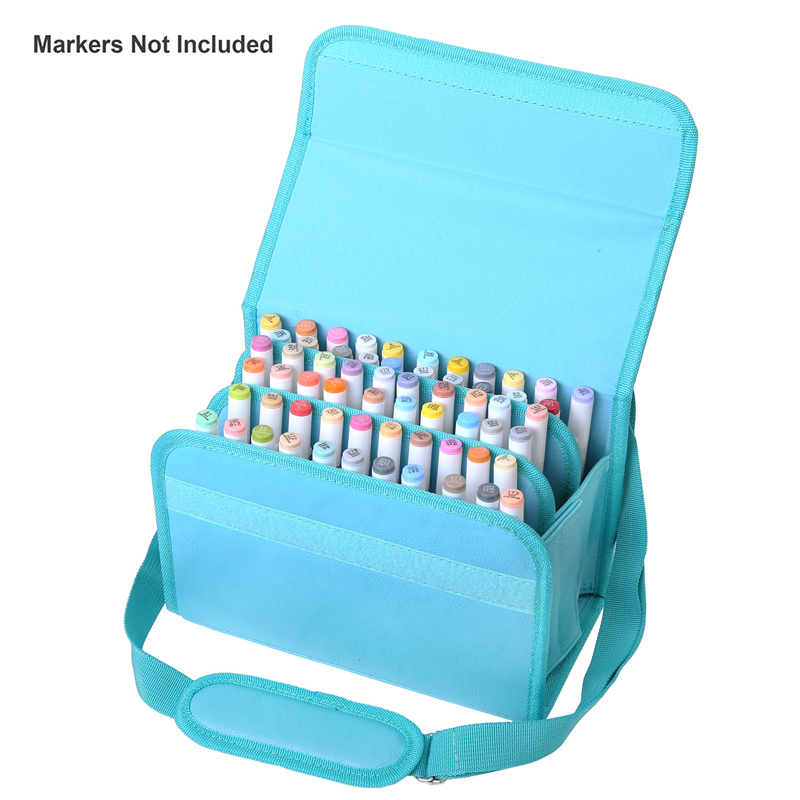 High Quality PU Leather 60 Holders Marker Case Zippered Markers Bag For Any Artist Carrying Permanent