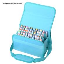 Высокое качество из искусственной кожи 60 держателей маркер чехол на молнии маркеры сумка для любого художника переноски постоянный краска Макияж Ручка Кисть