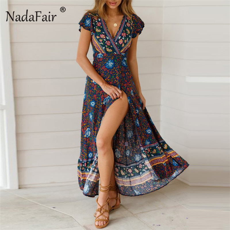 Nadafair Boho Floral Maxi Dress Women V Neck Split Sexy Summer Beach Dress Short Sleeve Casual Vintage Floral Print Long Dress