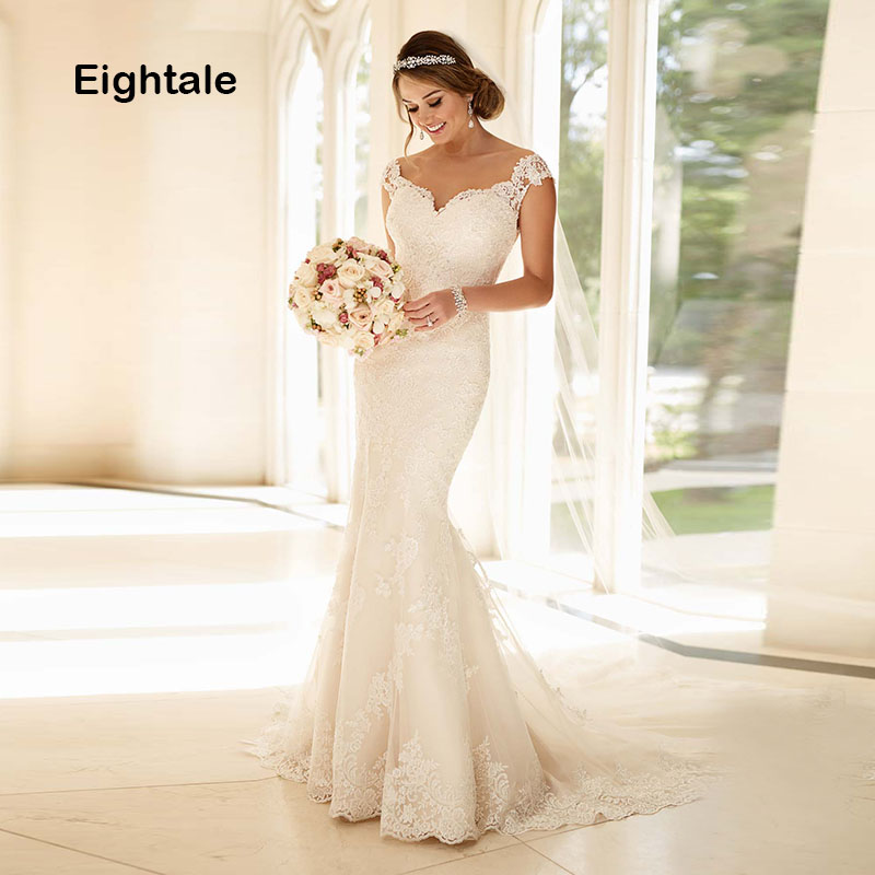Eightale Mermaid Wedding Dresses Lace Sweetheart Boho Bridal Dress Cap Sleeves Appliques Wedding Gowns 2019 vestido