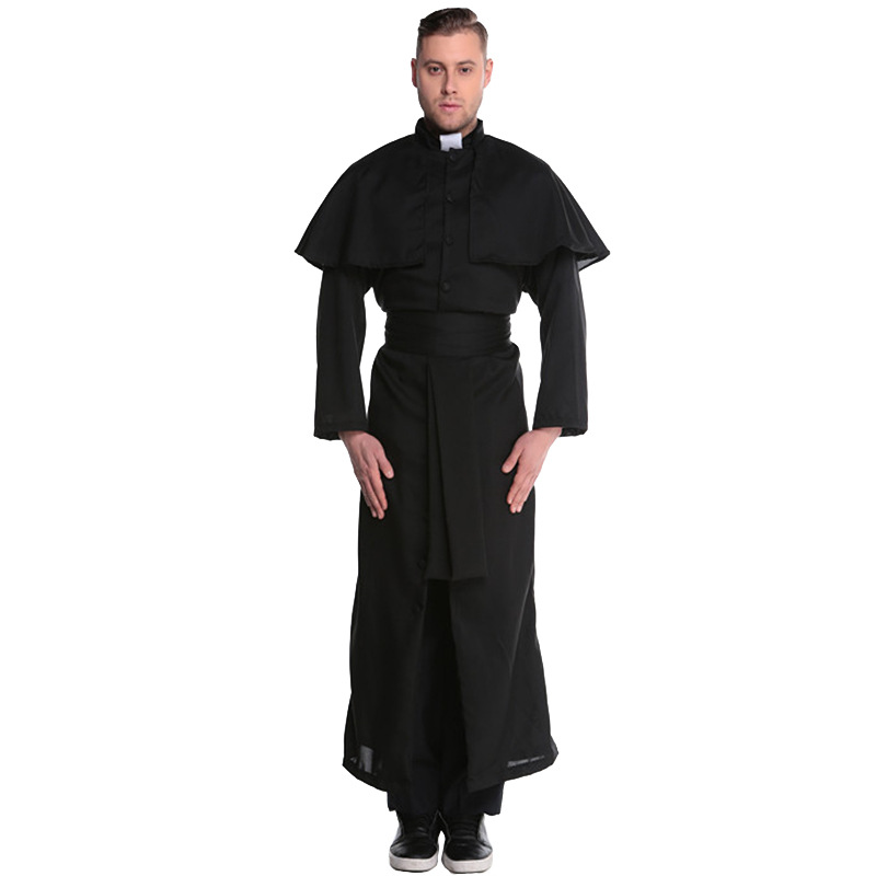 New Lovers Polyester Maria Priest <font><b>Halloween</b></font> Masquerade <font><b>men</b></font> women Cosplay Jesus <font><b>Costume</b></font> man Woman Black <font><b>Sexy</b></font> Nun Robes image