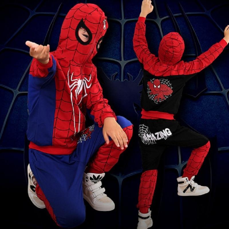 DT0267 New Spider Man Children Clothing Sets Boys Spiderman Cosplay Sport Suit Kids jacket + pants 2pcs. Clothes