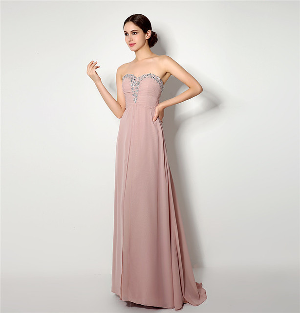 2018 Backlackgirl Elegant Real Photos Skin Pink Prom Dress Gorgeous A Line  Lace Up Back Chiffon Long Formal Party Gown Plus Size 89300545e6e0
