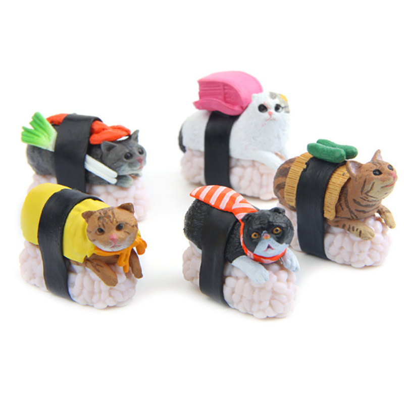 все цены на 5 Pcs/lot Kawaii Sushi Cat Mini PVC Figure Toy Meow Cute Cat Mascot Decorations Styles Collectible Model Dolls онлайн