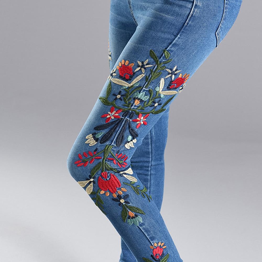 Plus Size Stretch   Jeans   Women 3D Embroidery Denim Pencil Pants High Waist Black Blue   Jeans   Long Trousers Casual Cowboy Pants