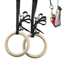 Professional Wood Gymnastic Rings Gym with Adjustable Long Buckles Straps Workout For Home & Cross Fitness A