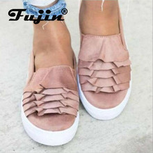 Fujin Women Loafu Shoes Big Size female Little White Dropshipping Shallow Flat Bottom Wave Lace Autumn