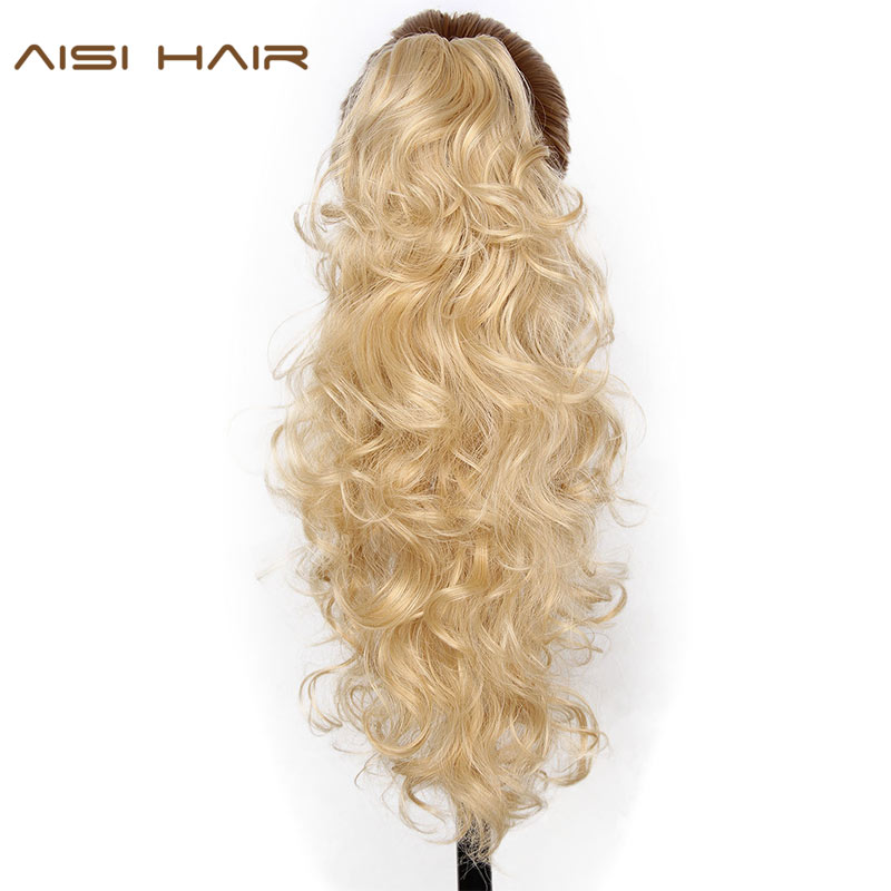 AISI HAIR 22 15 Colors Long Curly High Temperature Fiber Synthetic Hair Pieces Claw Clip Ponytail