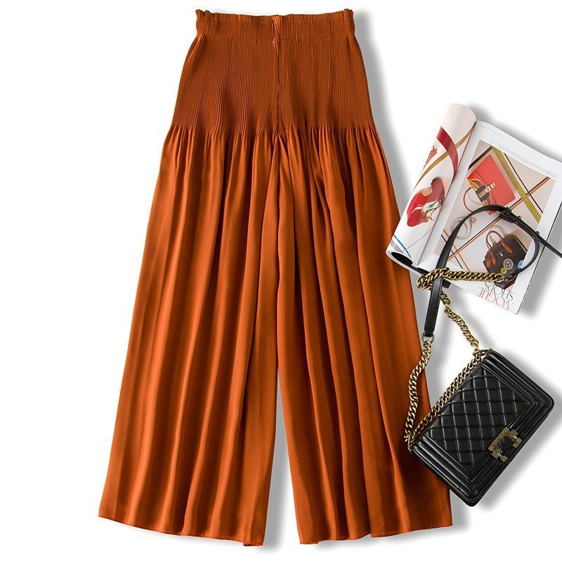 LANMREM 2019 Personality Wonen s Loose Wide Leg Pants New Fashion Casual Elastic Waist Pleated Irregular