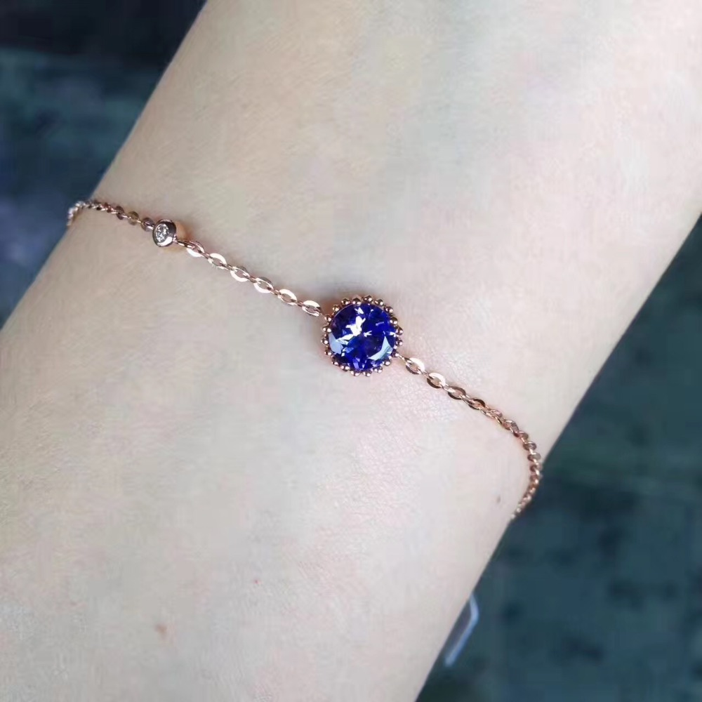 gemstone natural <font><b>tanzanite</b></font> <font><b>bracelet</b></font> 18K rose gold simple style fine women & girl jewelry free shipping image