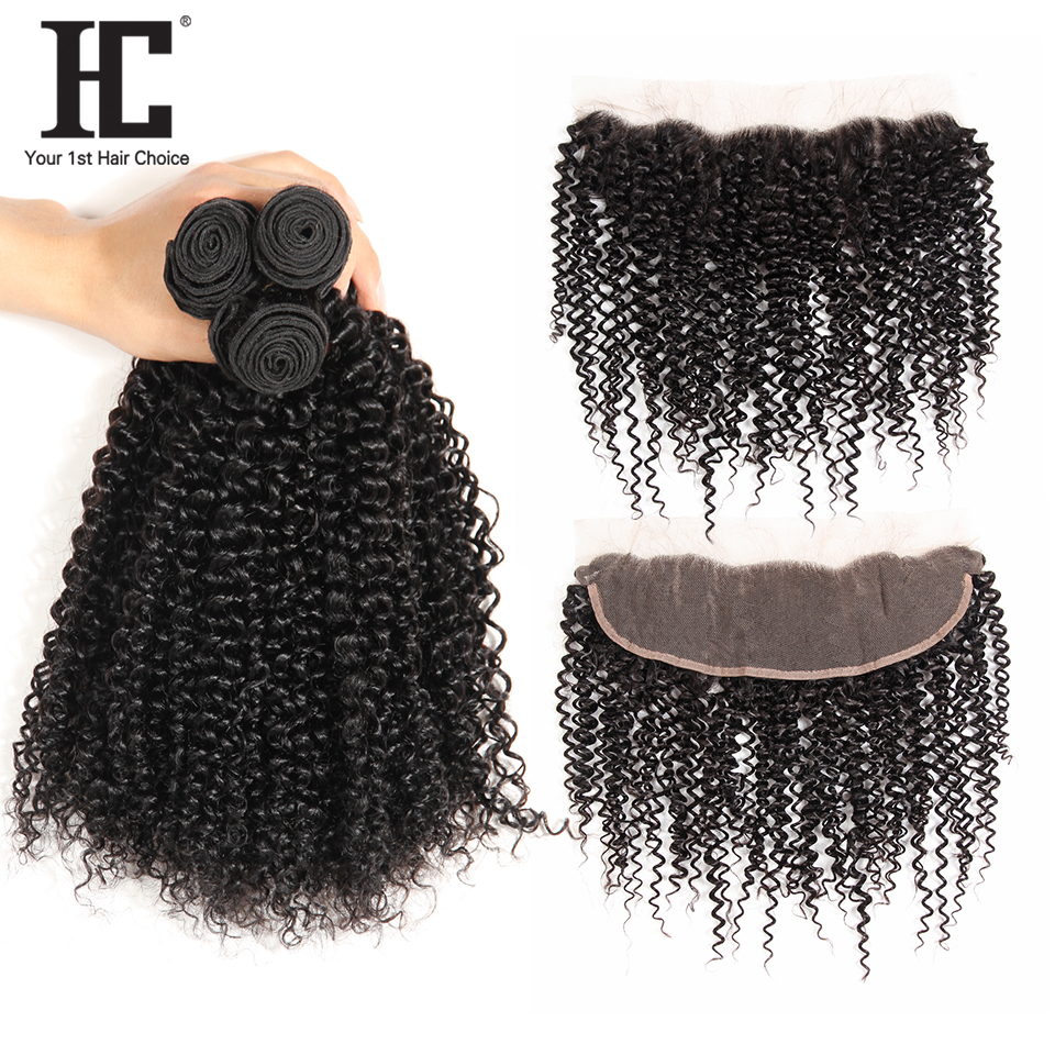 HC Malaysian Kinky Curly Hair Bundles With Closure 13*4 Pre Plucked Frontal Nonremy Wet And Wavy Human Hair Bundles With Closure