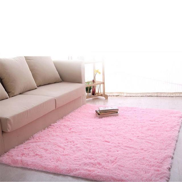 New Fluffy Rug Anti Skiding Shaggy Area Rug Dining Room Carpet Floor Mat  Pink Shaggy