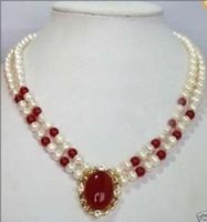 Wholesale price 16new ^^^^of White Pearl Red stone Necklace