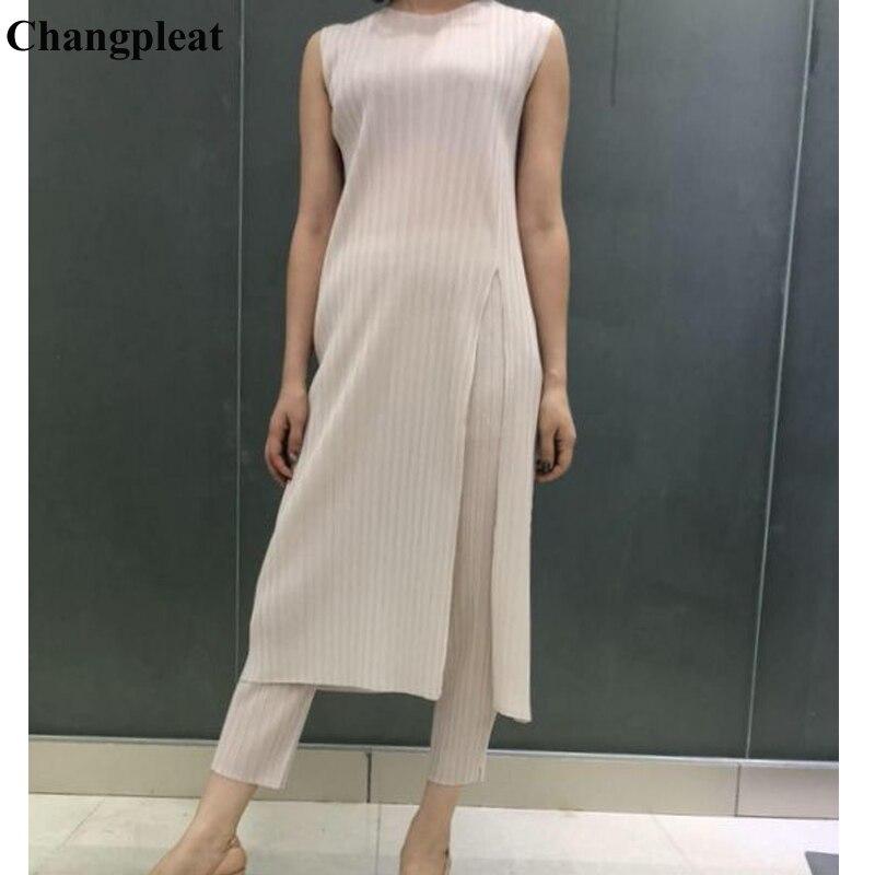Changpleat 2019 New Summer Women Long T shirts Tops Miyak Pleated Fashion Design Sleeveless slim Big elastic Female T shirt Tide-in T-Shirts from Women's Clothing    1
