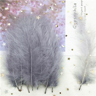 Natural Turkey Feathers Plumes 4-6 Inches10-15cm Multicolor Chicken Marabou Feather DIY Craft Wedding Jewelry Decoration 50pcs - Цвет: gray 50p