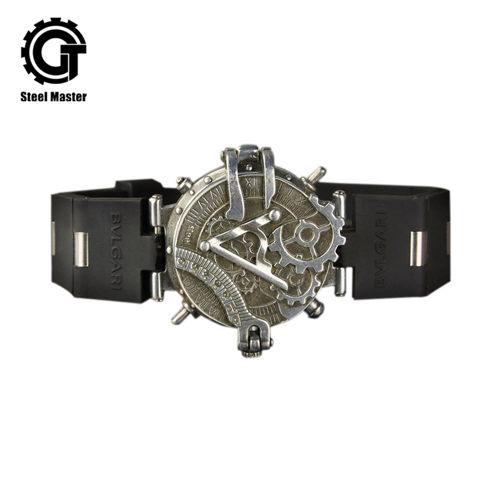 Montre unisexe Steampunk Personnalité de montre pour homme Creative Flip montre rétro L'industrie Rock Vent Frais Table
