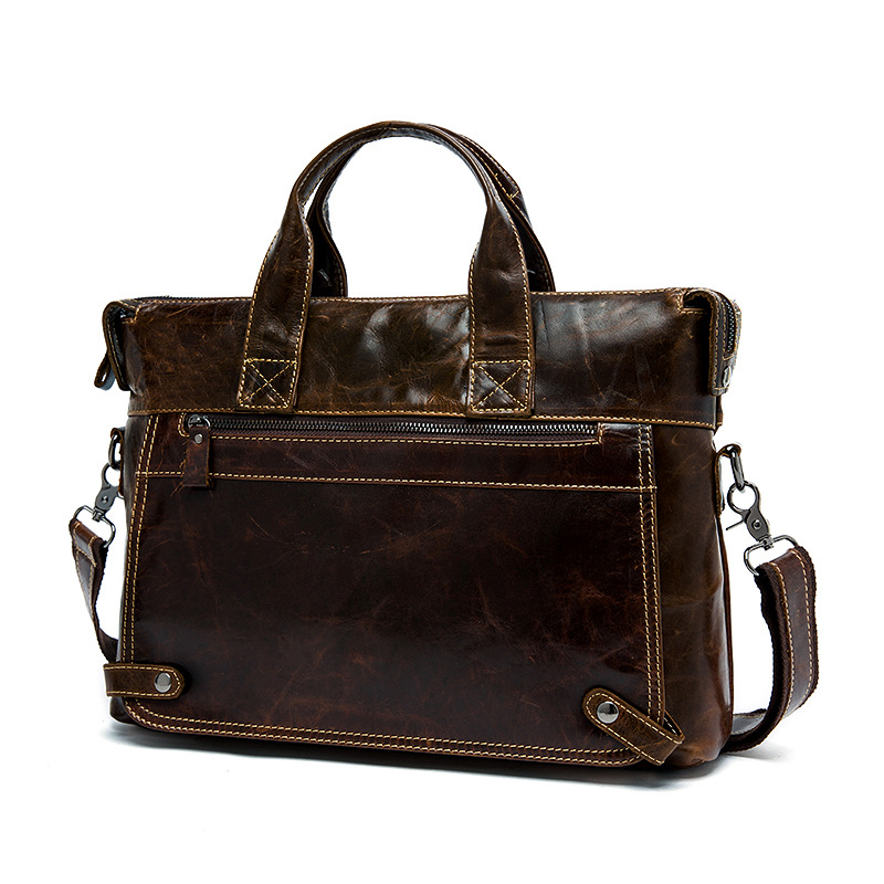 100% Cowhide Business Briefcase Genuine Leather Man 14