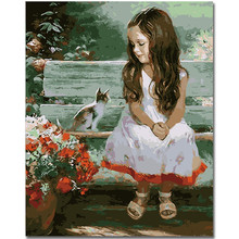 RIHE Little girl and cat DIY Painting By Numbers Kit On Canvas, Acrylic Paint Number Modern Home Wall Decor Picture 40x50cm