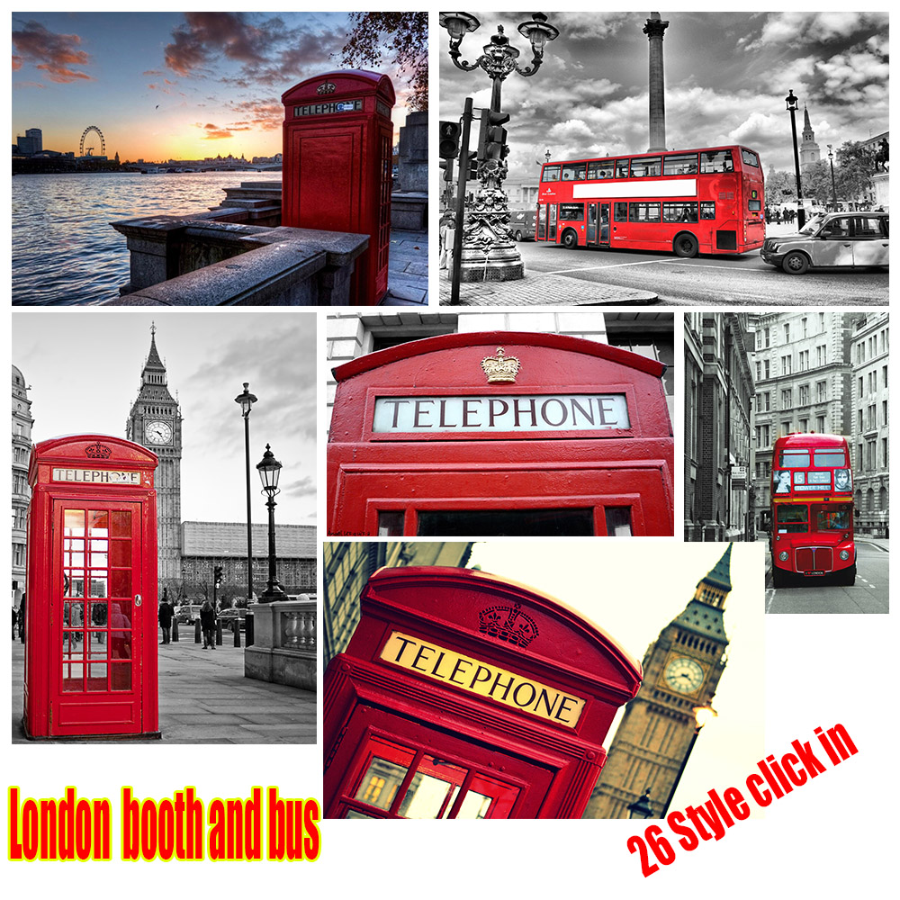 london phone booth and bus retro poster tv poster vintage