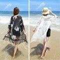 Topos de Chiffon Borla Xale KimonoFree SizeCardigan Blusa Praia Cover Up Blusa Cópia Elegante Quimono de Verão Camisas Jaqueta