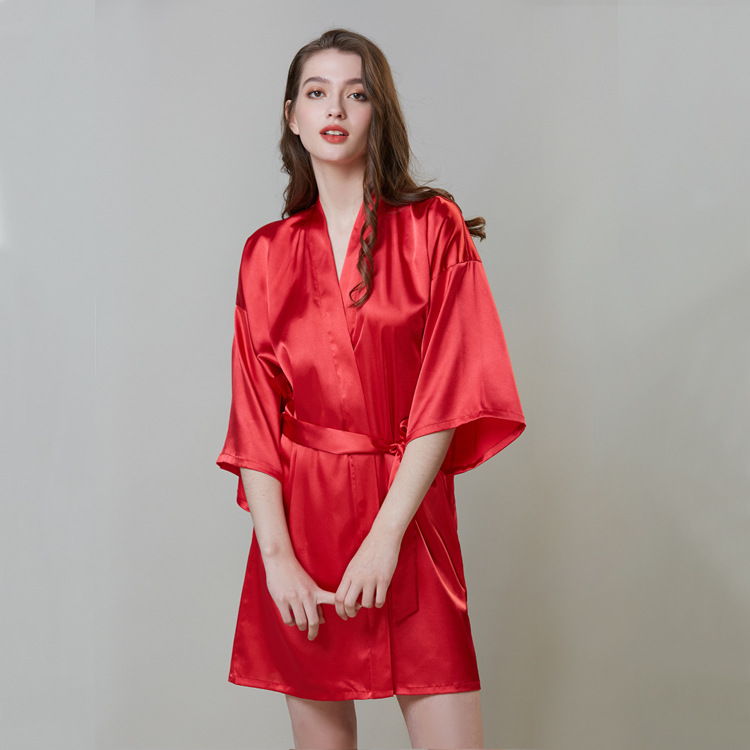 Bridesmaid robes Sleepwear Long Sleepwear Satin Silk Bride Robes for women pink Robes pjs women in Pajama Sets from Underwear Sleepwears