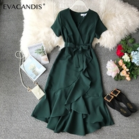 Ruffle V Neck Midi Dress White Bow Tunic Summer Office Korean Sexy Elegant Short Sleeve Plus Size Green Red Dress Women Vestidos
