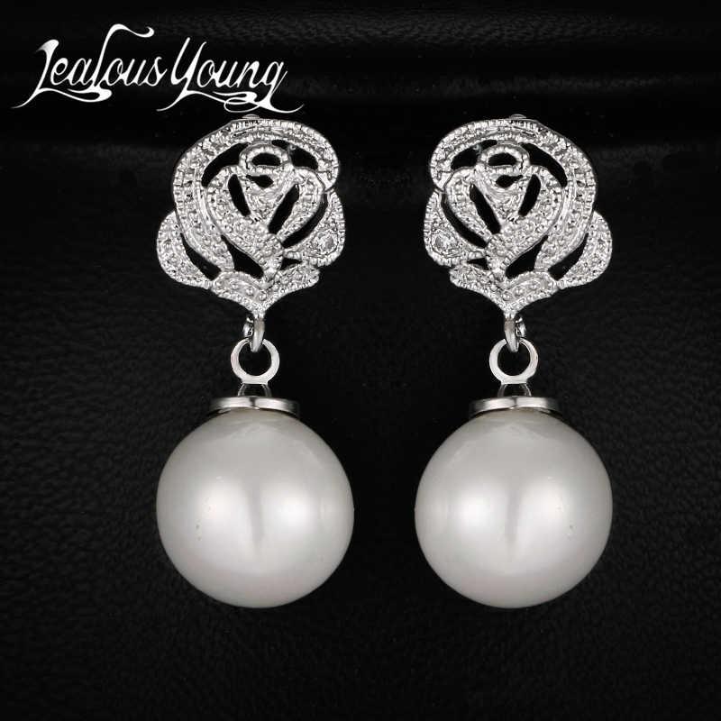 Luxus Romantische Rose Blume Imitation Perle Ohrringe für Frauen AAA Zirkonia Braut Ohrringe Indischen Schmuck Brincos AE447