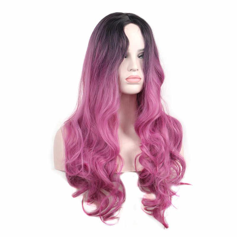 Женские длинные волнистые, устойчивые к нагреву синтетические парики черный корень синий серый бордовый зеленый фиолетовый красный розовый парик для косплея
