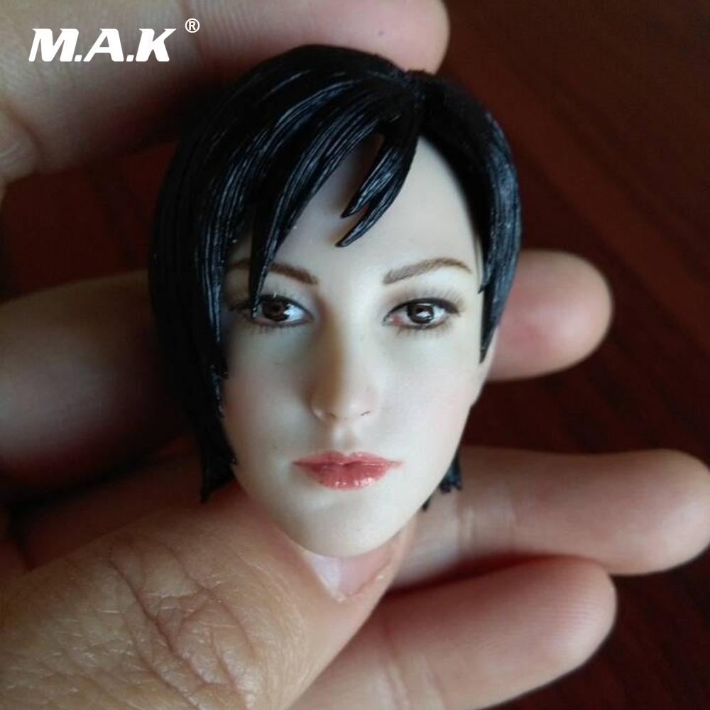 1:6 Scale Famle Head Sculpt Ada Wong with Short Hair Head Carving Model Toy For 12