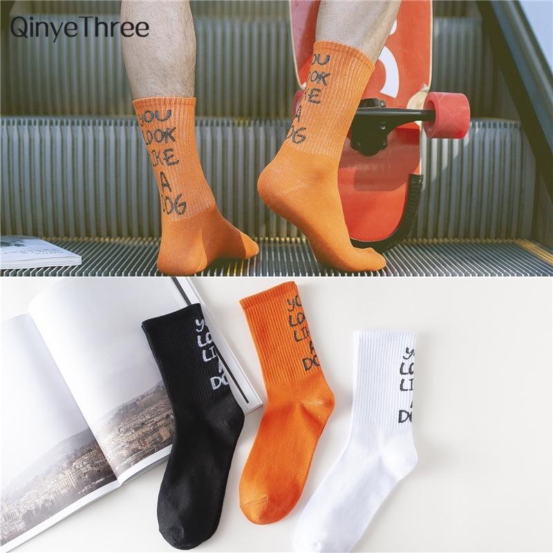 Fashion Tide Men Cotton Tube Socks Street Style Hip-hop Skateboard Boy Harajuku Style Socks Tide Men Crews Unisex Sox Drop Ship