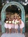 Light Pink Short  Knee-Length One Shoulder Bridesmaid Dresses Vestidos Para Festa De Casamento Plus Size  Party Dress
