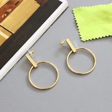 Exaggerated the circle earrings mirror bronze ornaments Earrings 3.7 cm in diameter Fashionable woman gift